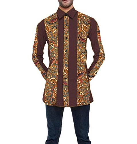 Highisa Mens Africa Tops Blouse Vogue Oversized Dashiki Cotton Dress Shirts 8 L by Highisa