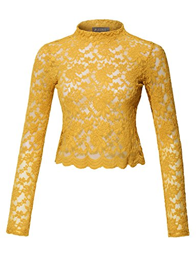 LE3NO Womens Stretchy Long Sleeve Floral Lace Mock Neck Crop Top
