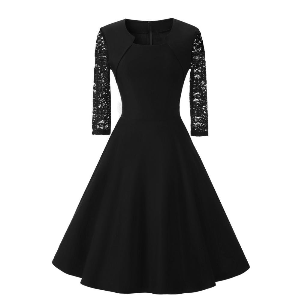 Womens Novelty Design Collar Cocktail Party Dress Casual Slim O Neck Three Quarter Sleeve Wedding Vintage Lace Dress (XL, Black)
