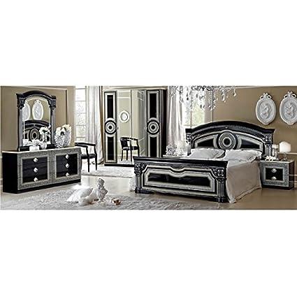 Luca Home Black/Silver 3 Piece Queen Bedroom Set
