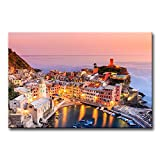 My Easy Art® Modern Canvas Painting Wall Art The Picture For Home Decoration Vernazza Village Cinque Terre National Park Sunset Italy Bay Seascape Print On Canvas Giclee Artwork For Wall Decor