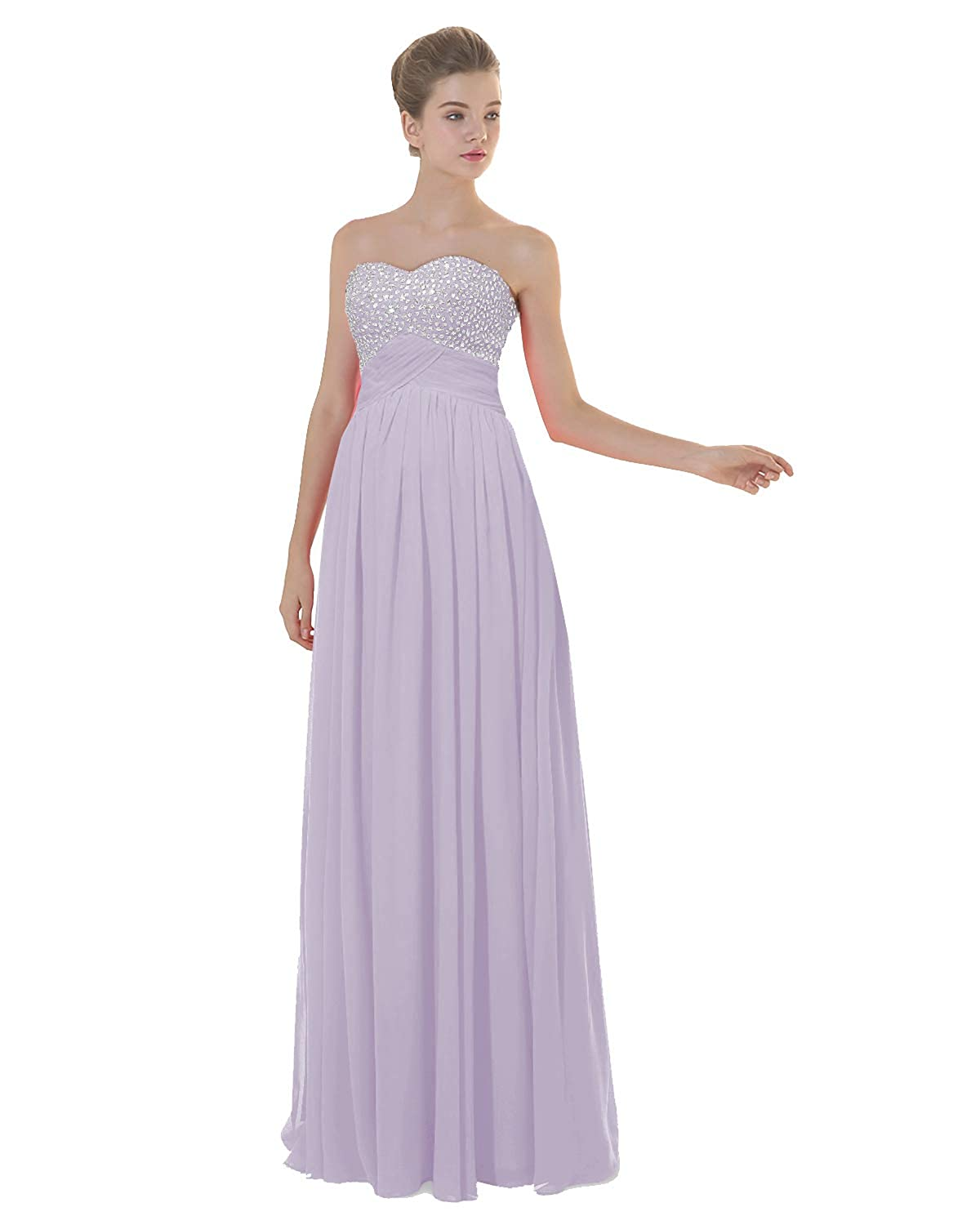purplec ANGELWARDROBE Empire Beaded Sweetheart Neck Prom Gowns Long Evening Dresses Party Skirts