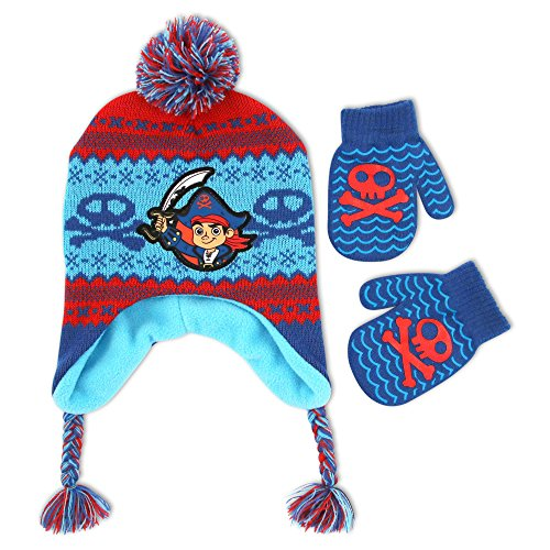 Disney Toddler Boys Jake and the Neverland Pirates Acrylic Winter Laplander Pom Hat with Satin Character Patch and Matching Gripper Mitten Set Blue, One (Jake And The Neverland Pirate Characters)