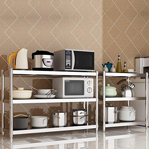 Kitchen storage rack Estantería de Cocina/de Acero Inoxidable Estante de Almacenamiento/de Suelo Estante Multicapa/Espesar Horno de microondas/de ...