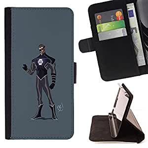 BullDog Case - FOR/LG Nexus 5 D820 D821 / - / SUPERHERO COSTUME BLACK PURPLE MASK MAN /- Monedero de cuero de la PU Llevar cubierta de la caja con el ID Credit Card Slots Flip funda de cuer