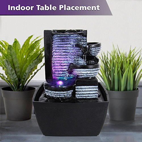 3-Tier Desktop Electric Water Fountain Decor w/ LED - Indoor Outdoor ...