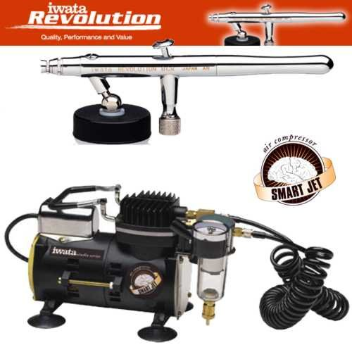 Iwata 4211 Siphon Airbrush Kit along with the Iwata Smart Jet Air Compressor ...