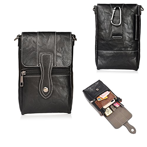 PU leather Case Money Pocket Smartphone Holster Tactical Carry Pouch Belt Clip Waist Bag Shoulder Strap Hook Loop iPhone X 8 7 Plus 6S/6 5S 5C (A) Canvas Zipped Compact Wallet