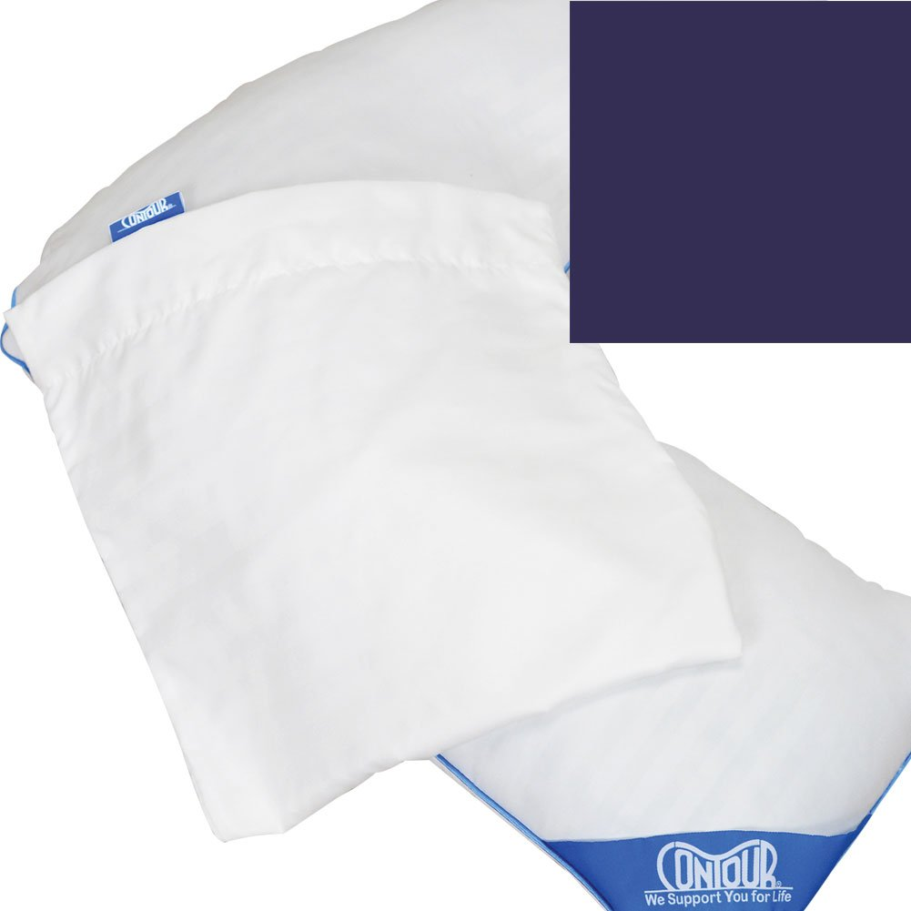 Contour Products Deluxe L Shaped Pillow Cover Soft Durable 100% Cotton Navy