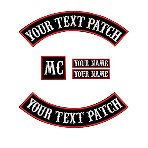 Custom Patch Vest Biker Motorcycle Rocker Name Patches (Red on Black)