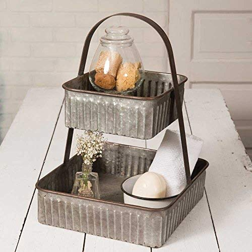Colonial Tin Works Rustic Industrial Farmhouse Chic Two Tiered Corrugated Square Tray,grey