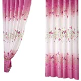 Pannow Butterfly Flowers Printed Window Curtains with Hooks Girls Room Curtain Panels for Bedroom Living Room Kids Room or Nursery Window Drapes - 39'' x 78'', 1 Panel