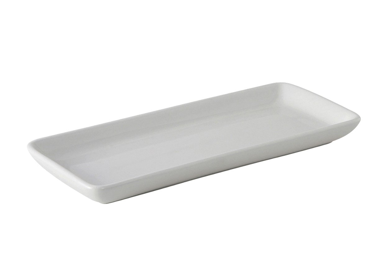 Tuxton BPZ-1141 Vitrified China Tray, 11-1/2'' x 5'', Porcelain White (Pack of 12),