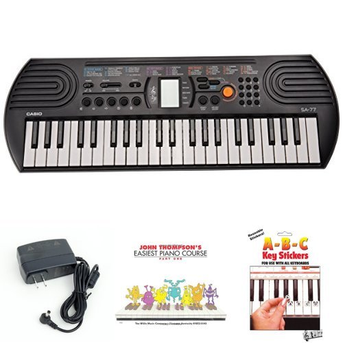 Casio SA77 44 Keys 100 Tones Keyboard bundle with Casio Power Supply, John Thompson's Easiest Piano Course and ABC Keyboard Stickers