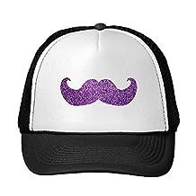 Funny Purple Bling Mustache (Faux Glitter Graphic) Trucker Hat