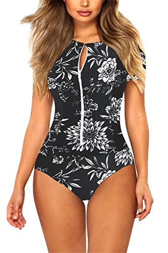 Viottis Women's Zip-up Short Sleeve Pad One-Piece Swimsuit Rash Guard XL Black ()