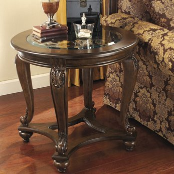 Hand Wood Finished (Luxurious Hand Finished Round End Table Made of Veneers Wood and Cast Resin Accents Beveled Glass Top with Scrollwork Underlay Richly Stained Legs and Stretchers Living Room Furniture Decor)