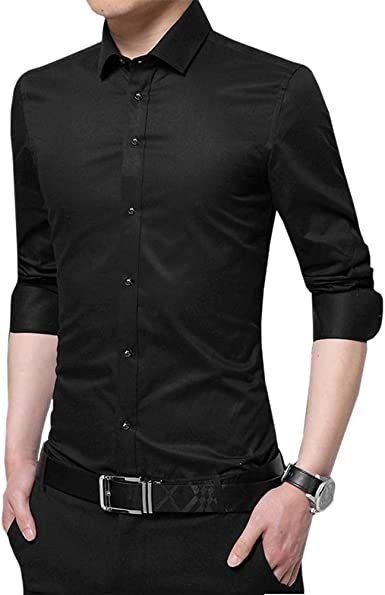 Mens Long Sleeve Solid Cotton Button Down Slim Business Formal Shirt