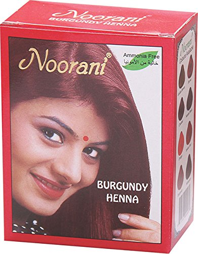 Noorani Henna Based Hair Color and Herbal Powder in USA | Ships from California (1 ( 6 Pouch x 10g ), BURGUNDY HENNA)