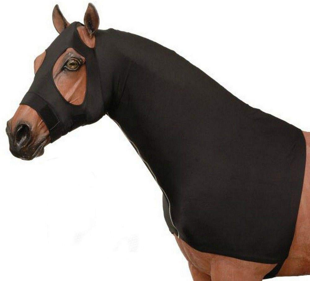 AJ Tack Wholesale Horse Slinky Hood Shoulder Guard Mane Keeper Lycra Zipper Fleece Band Black L
