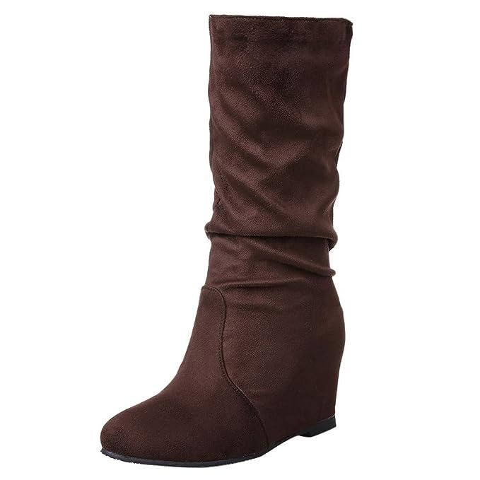 Zapatos de Invierno,ZARLLE Planas Mate Medio Tubo de Ante de Color sólido para Mujer Botas Martin Botas para Mujer Botines Plataforma Casual Zapatos: ...