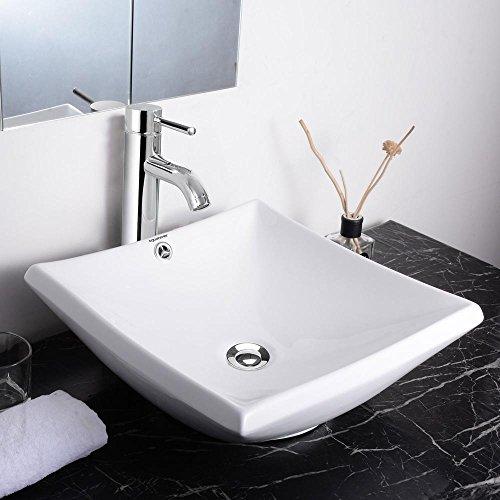 Aquaterior Square Porcelain Ceramic Bathroom Vessel Sink w/ Overflow+12 1/2″ Chrome Faucet Lavatory+Popup Drain Set