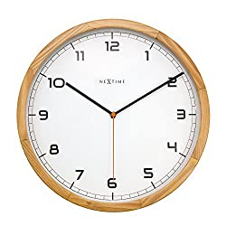 Unek Goods NeXtime Company Wooden Wall CLock, Natural Wood Color, Round, Decorative, Battery Operated