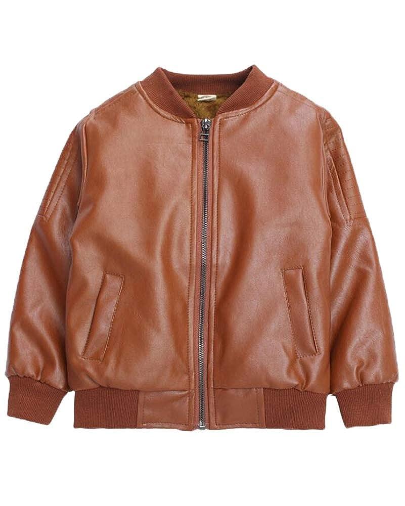 Suncaya Motocicleta para Ni/ños Abrigo de Cuero Faux PU Corta Chaqueta de Cuero Outwear Cool Coat