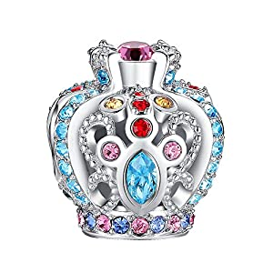 Glamulet Multicolor Crystals Openwork Crown Charms 925 Sterling Silver Princess Crown Beads Fits Pandora Bracelet from Glamulet