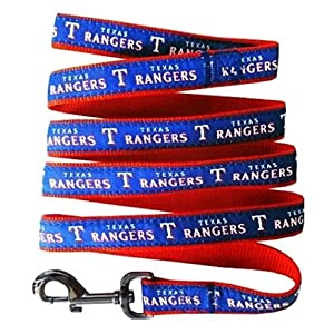 Texas Rangers Nylon Collar and Matching Leash for Pets (MLB Official by Pets First) Size Medium