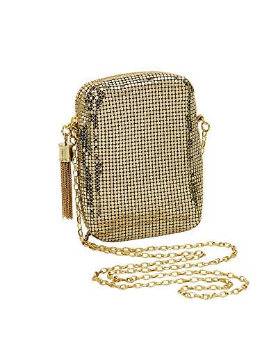 (Whiting & Davis  Chain Tassel Pouch 1-5810GL Crossbody,Gold,One Size )