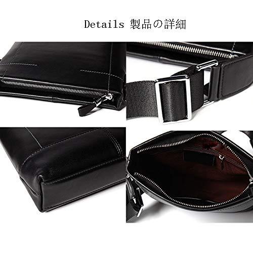 Color : Black Jiudian Leather Mens Shoulder Bag Sewn Mens Handbag Vertical Briefcase Commuter