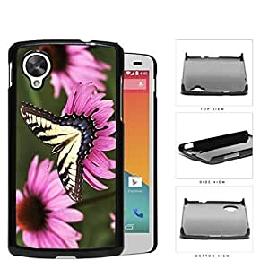 Yellow Butterfly And Pink Flower Garden Hard Plastic Snap On Cell Phone Case LG Nexus 5