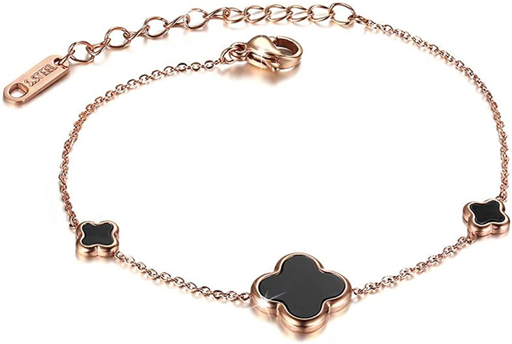 4-Leaf Clover Bracelet, Titanium Steel Lucky Rose Gold Charm Bangle,Fashion Good Luck Flower Bracelet for Women Chain Jewelry Gifts