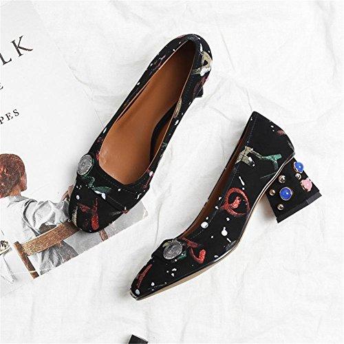 Chaussures Dames RED Faible Talon Noir NVXIE Milieu Tribunal EUR37UK455 Causal Carré Rivet Fête Pompes Femmes Bloc qfnA4Aw6O