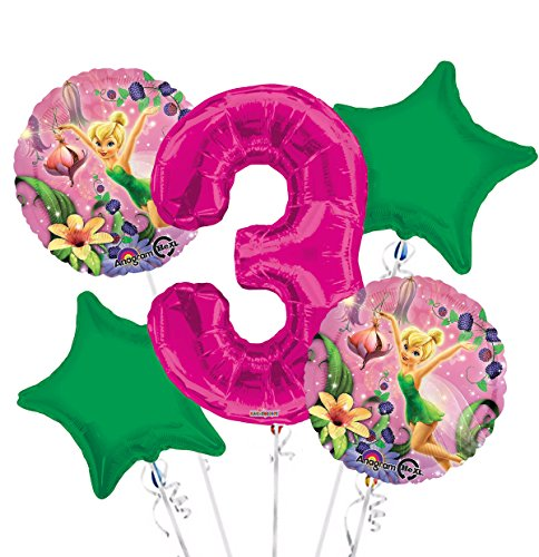 Tinkerbell Balloon Bouquet 3rd Birthday 5 pcs - Party Supplies