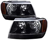 jeep cherokee distributor - AJP Distributors For Jeep Grand Cherokee Headlights Head Lights Lamps Upgrade Replacement Pair Unit Assembly 1999 2000 2001 2002 2003 2004 99 00 01 02 03 04 (Black Housing Clear Lens Amber Reflector)