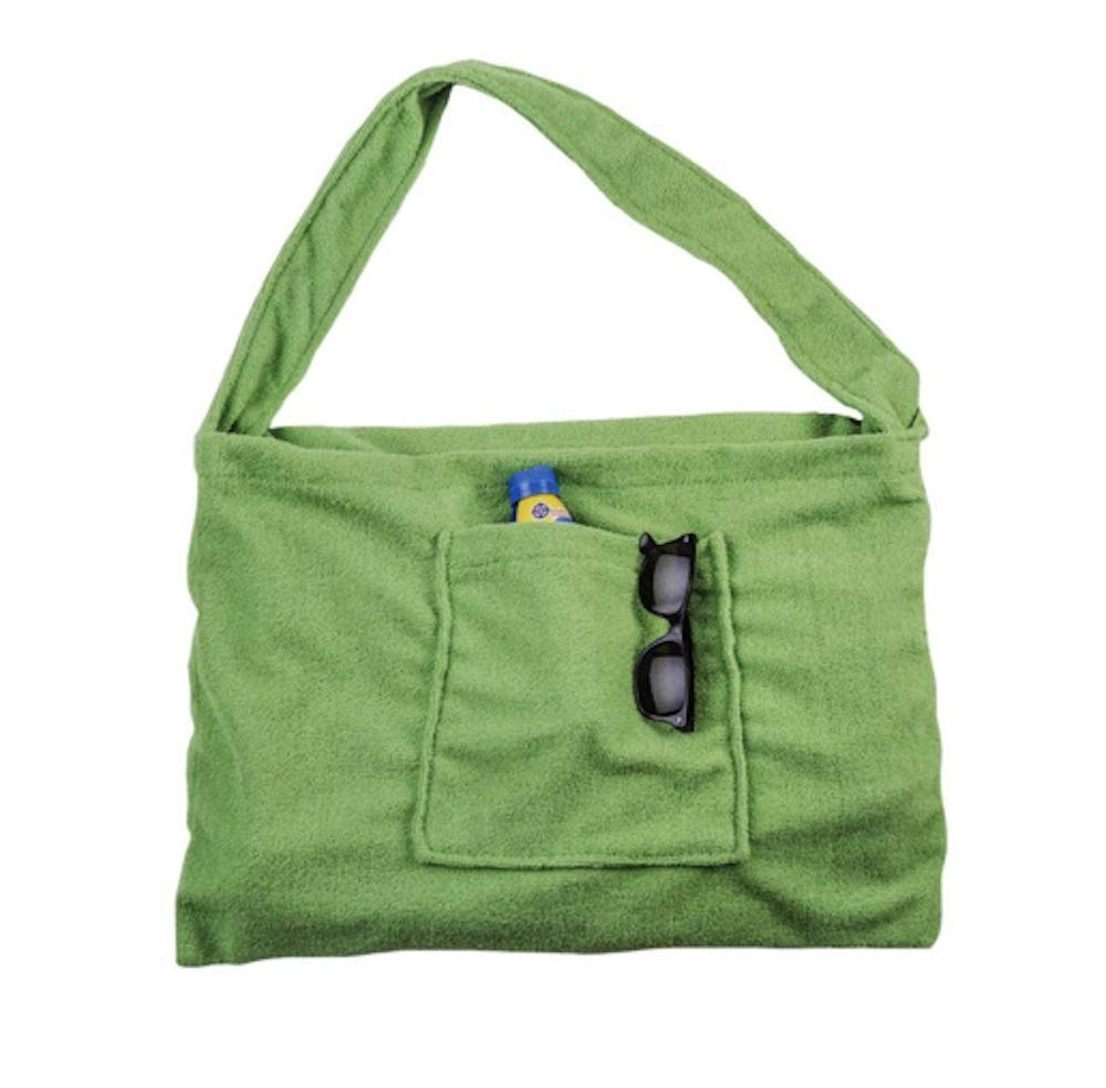 Beach Lounge Chair Cover Towel With Fitted Pocket Top and Side Pockets Lime Green 78 L x 22 W Converts Into 22 L x 15 H Tote Bag