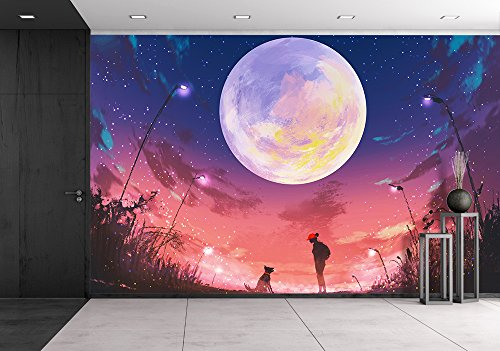 Illustration young woman with dog at beautiful night with huge moon above illustration painting