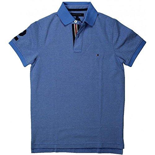 Tommy Hilfiger Herren Kurzarm Polo - Blau meliert - Größe S