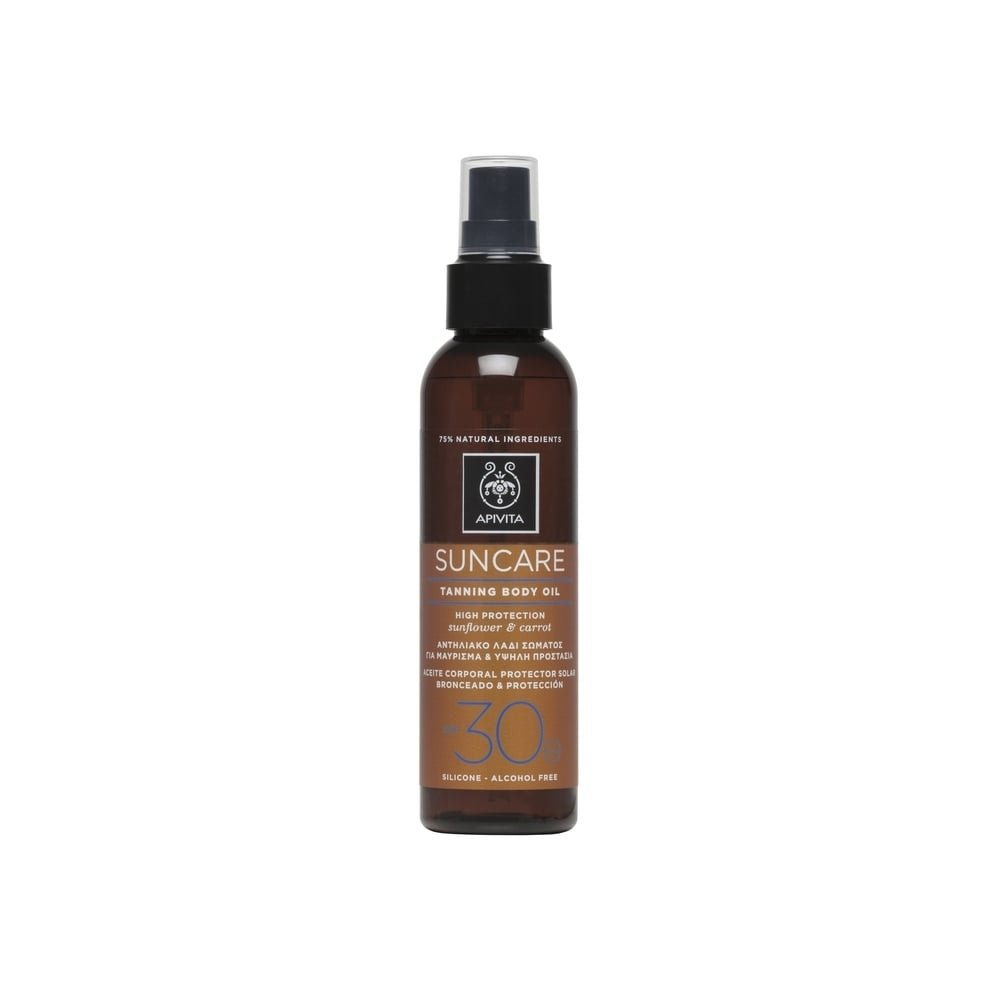 8 X Apivita Suntan Body Oil SPF30 with Sunflower & Carrot - 8 Bottles X 150ml/5.1oz each one