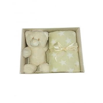 Set 2pz confezione regalo copertina coperta culla carrozzina stelle con peluche bimbo bimba neonato T&R panna