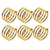 Frjjthchy 6 Pcs Stainless Steel Spiral Napkin Rings Serviette Holder (Gold)
