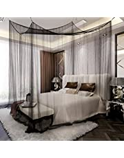 La Vogue Four Corner Post Bed Canopy Mosquito Net Full Queen King Size Bed Net Black