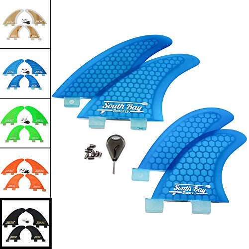 South Bay Board Co. Premium Surfboard Fins - Thruster & Quad Fiberglass Reinforced FCS Surf Fins (Quad Fins)