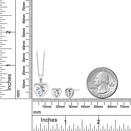 10K White Gold 1.38 Ct Heart Sky Blue Aquamarine & Diamond Pendant Earrings Set by Gem Stone King (Image #1)
