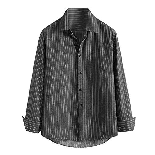 〓LONDONY〓Men's Floral Paisley Printed Button Down Long Sleeve Hawaiian Shirt Regular-Fit Comfy Solid Casual Poplin Shirt Gray (Vernon Flowers Hawaiian)