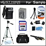 8GB Accessory Kit For Sanyo VPC-SH1 High Definition Camcorder Includes 8GB High Speed SD Memory Card + Extended (1300Mah) Replacement DB-L90AU Battery + AC/DC Travel Charger + Deluxe Case + Tripod + Mini HDMI Cable + USB 2.0 SD Reader + More