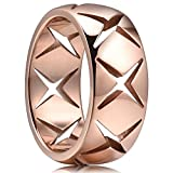 King Will TIME 8mm 316 Stainless Steel Wedding Band Ring with Cross Hollow Rose Gold Plated(7)