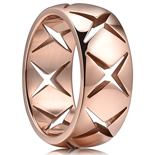 (King Will TIME 8mm 316 Stainless Steel Wedding Band Ring with Cross Hollow Rose Gold Plated(10))